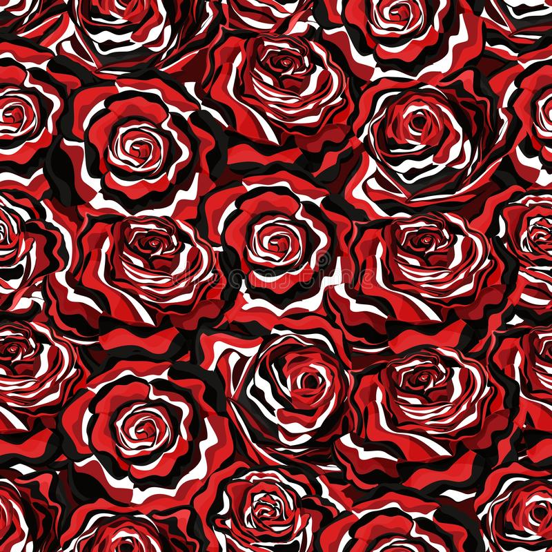 Seamless vector pattern with roses in black, white and red artistic style royalty free illustration