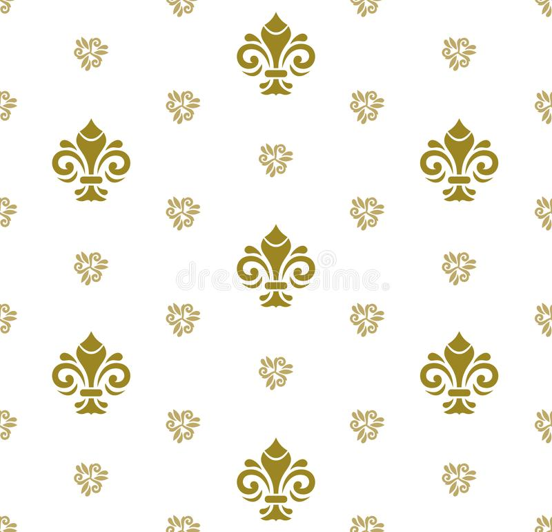 Seamless Vector Pattern With Royal Lilies stock illustration