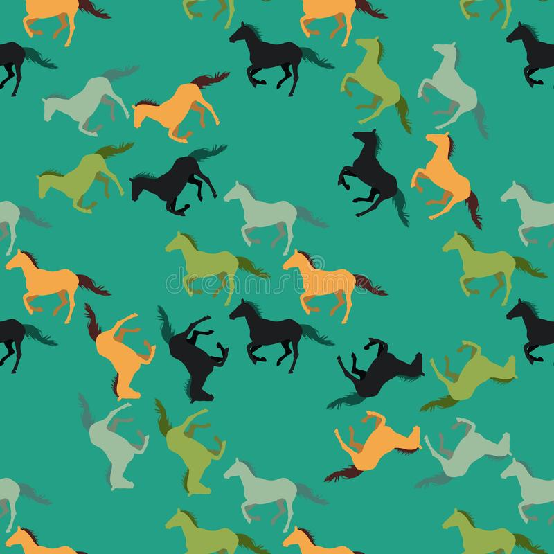 Seamless vector pattern with running horses on green background stock illustration