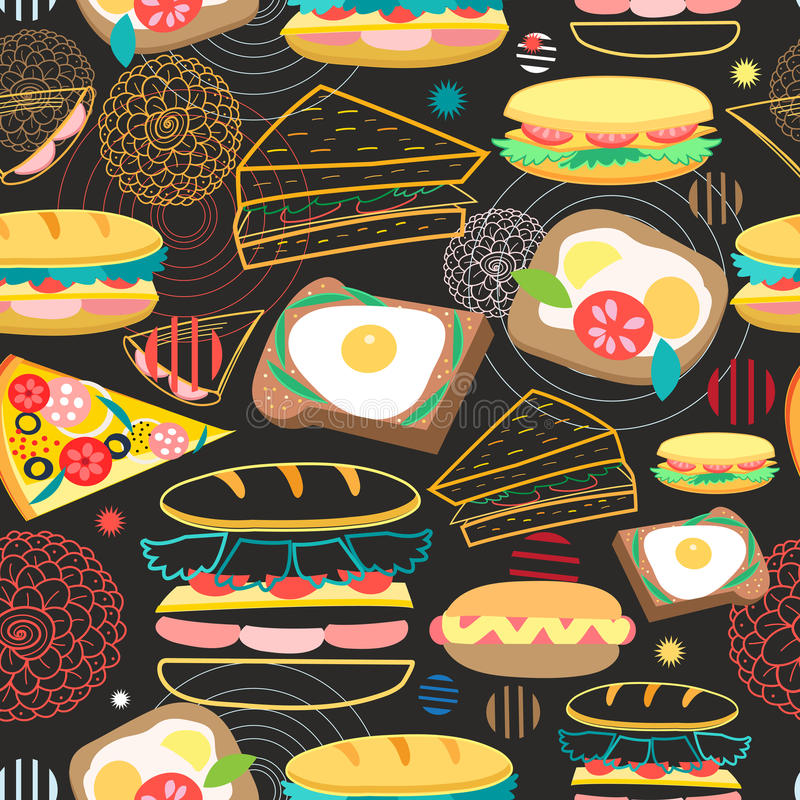 Seamless vector pattern sandwiches stock illustration