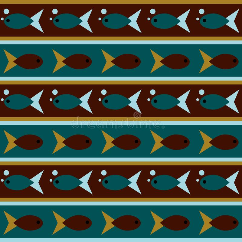 Seamless pattern with school of fish royalty free illustration