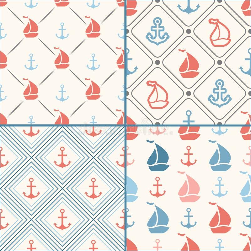Seamless vector pattern set of anchor, sailboat vector illustration