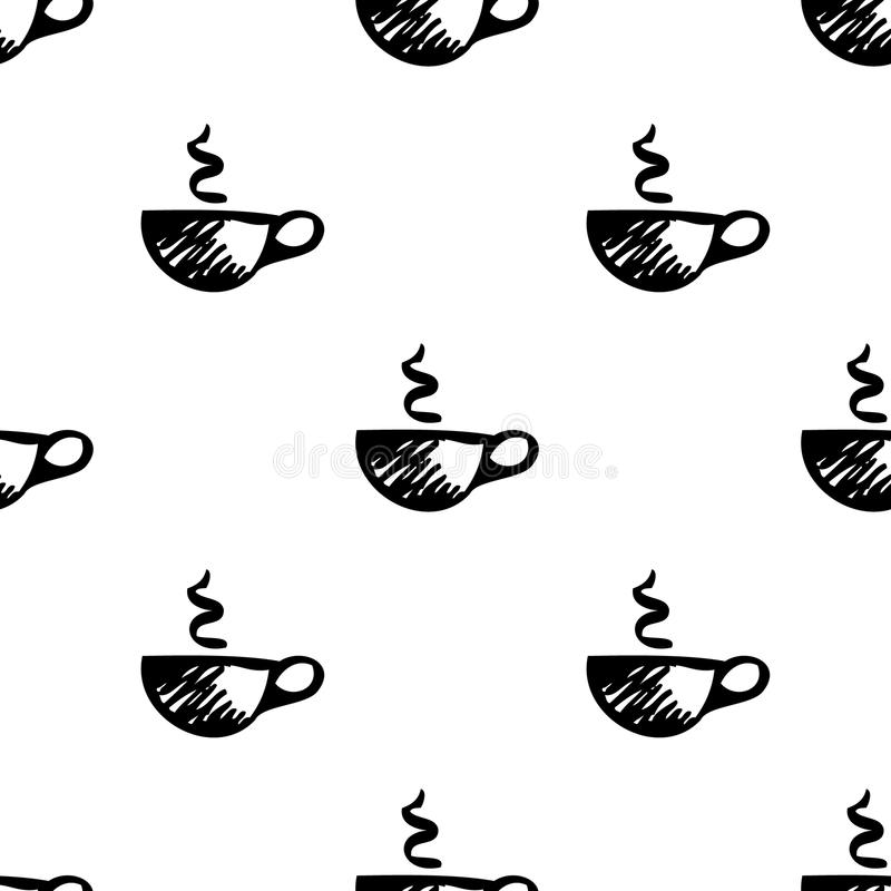 Seamless vector pattern. Simple black and white background with hand drawn cups vector illustration