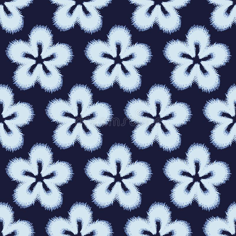 Seamless vector pattern with simple embroidered flowers in indigo blue. A seamless vector pattern with simple embroidered flowers in indigo blue. Surface print stock illustration