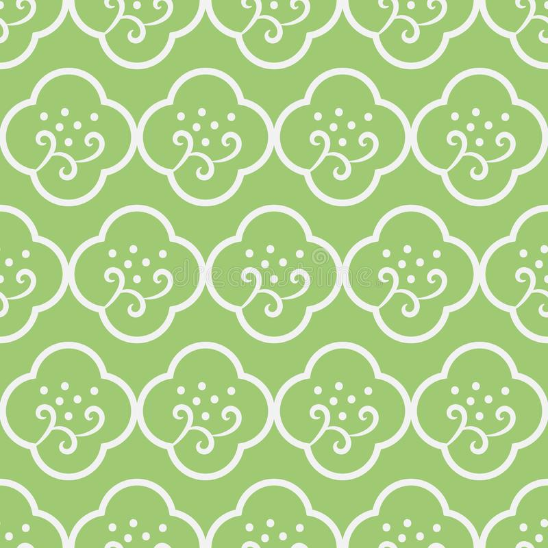 Seamless vector pattern with simple minimal floral ornament in fresh green color stock illustration