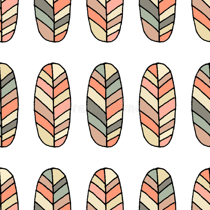 Seamless vector pattern. Sketch feather background. Hand drawn abstract ornament stock illustration