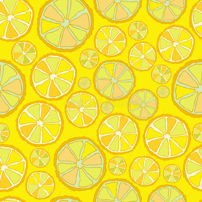 Seamless vector pattern with slices of lemon. Colored slices on a neutral background. Colorful hand drawing in sketch stock illustration