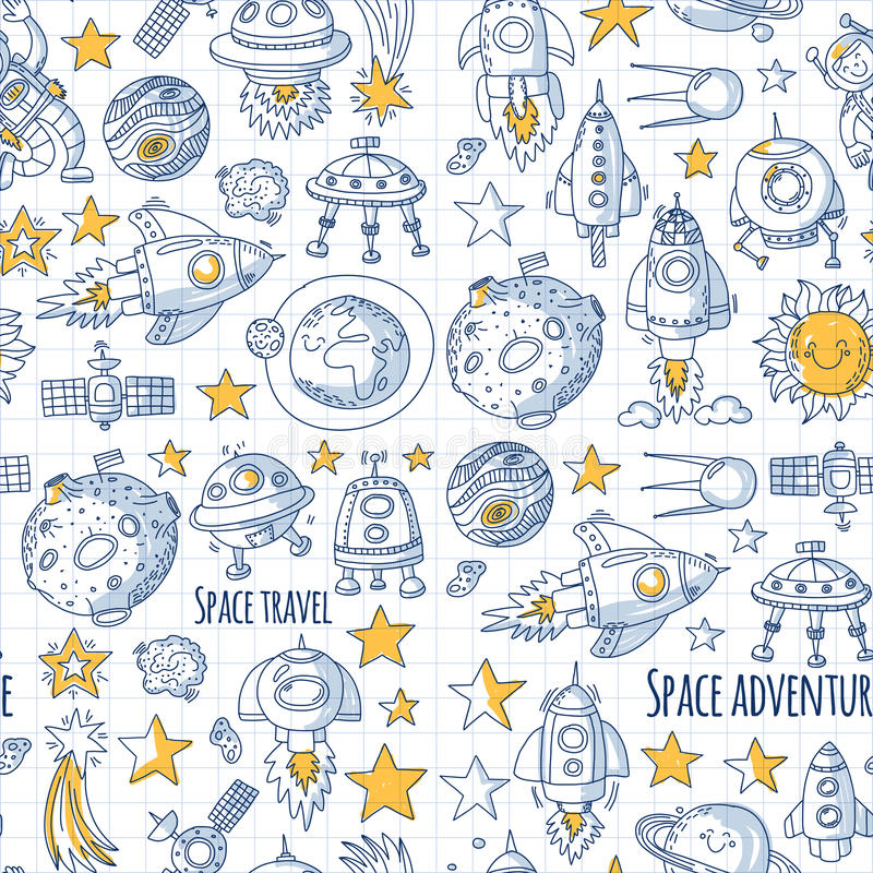 Seamless vector pattern Space, satellite, moon, stars, spacecraft, space station Space hand drawn doodle icons and vector illustration