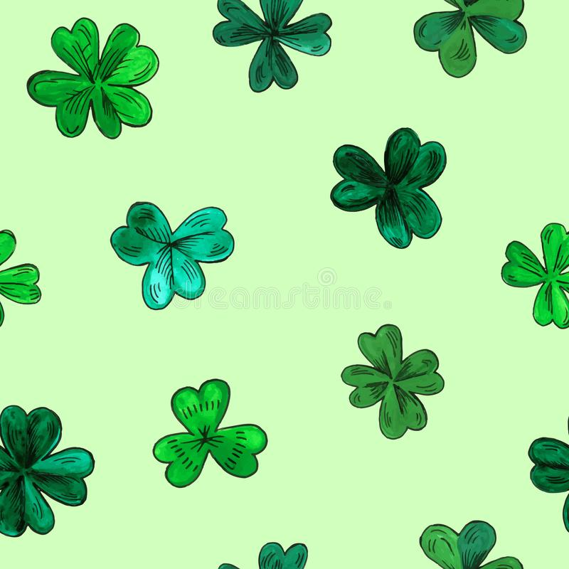 Seamless vector pattern for St. Patrick day. Hand drawn watercolor clover leaves on green background. Texture for print, wallpaper, home decor, textile royalty free illustration