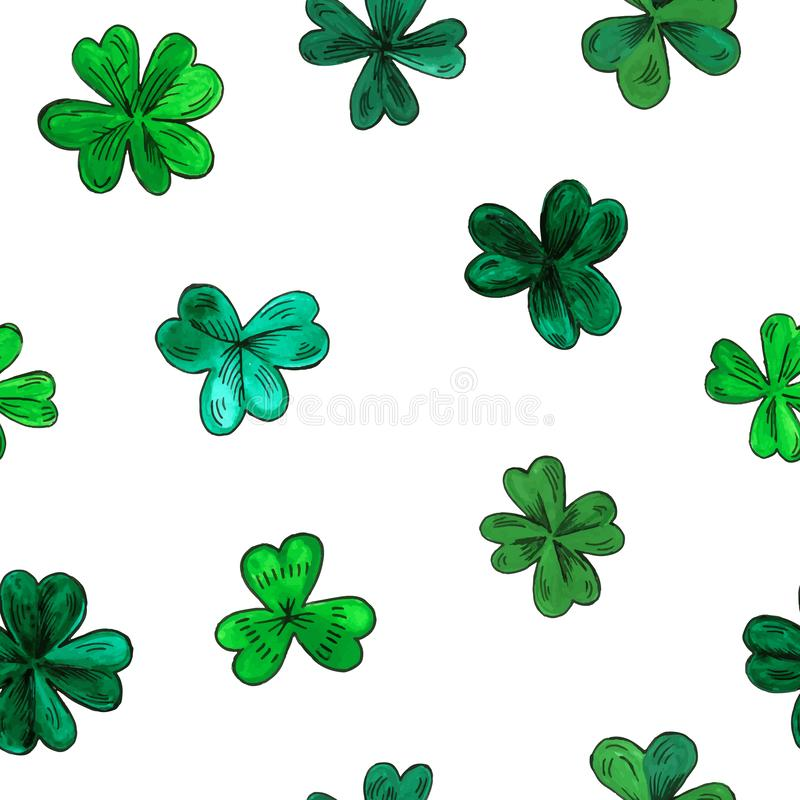 Seamless vector pattern for St. Patrick day. Hand drawn watercolor clover leaves isolated on a white background. Texture for print, wallpaper, home decor stock illustration