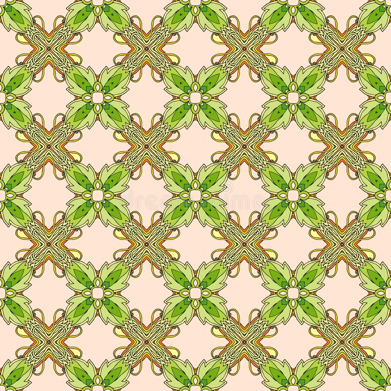 Seamless vector pattern with stylized flowers and green leaves. royalty free illustration