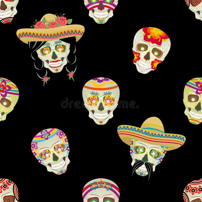 Seamless vector pattern. Sugar skull. Male Mexican black mustache with black hair gathered in pigtails royalty free illustration