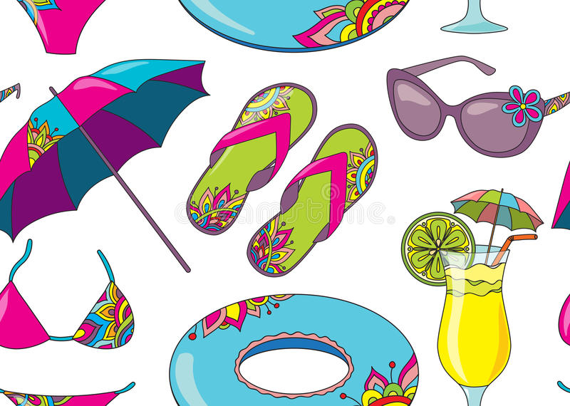 Seamless vector pattern with summer holidays seaside beach objects stock illustration