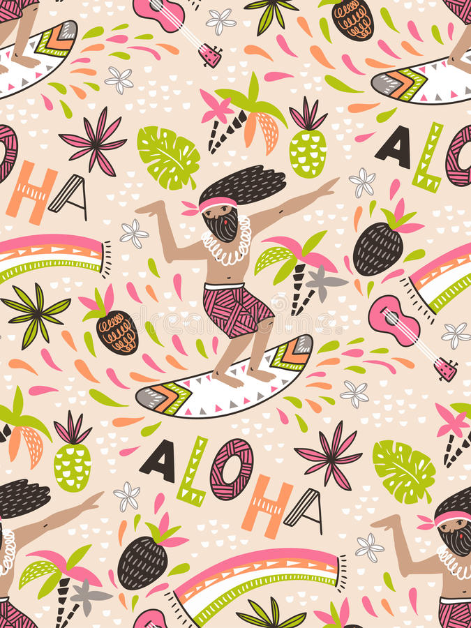 Seamless vector pattern with surfer and ornamental phrase `ALOHA` on the pink background. royalty free illustration