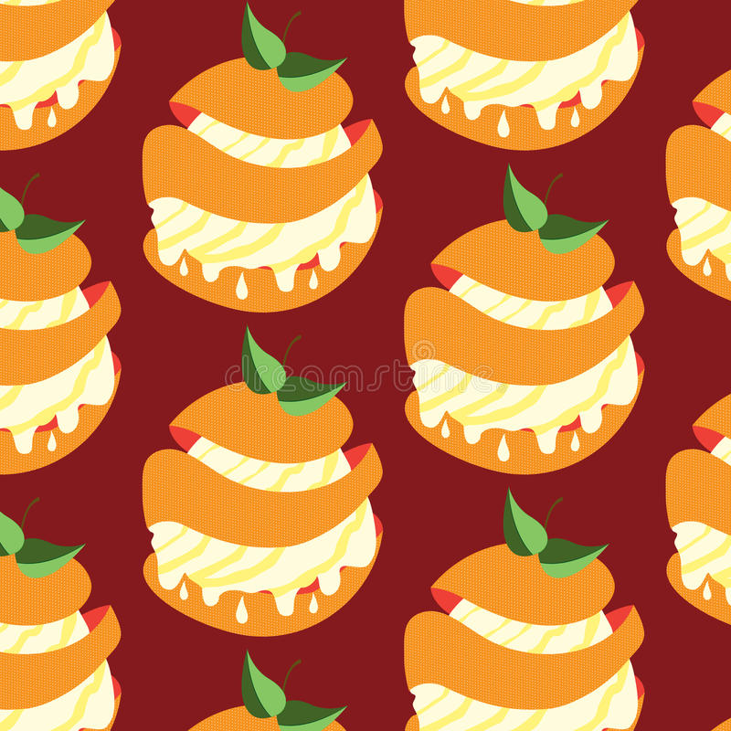 Seamless vector pattern with sweet orange desserts. In pieces with patisserie cream royalty free illustration