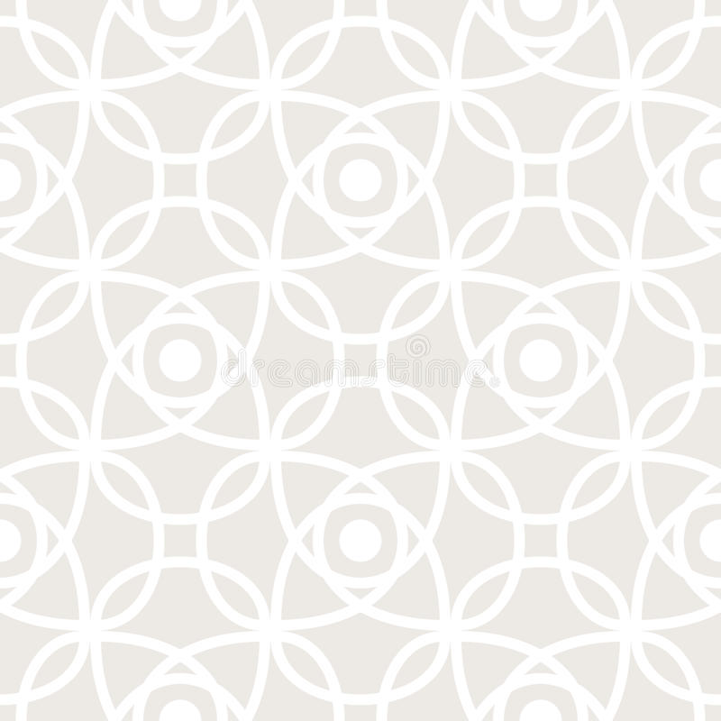 Seamless vector pattern with symmetric ornament. Abstract subtle geometric rounded lines background in pastel color. royalty free illustration