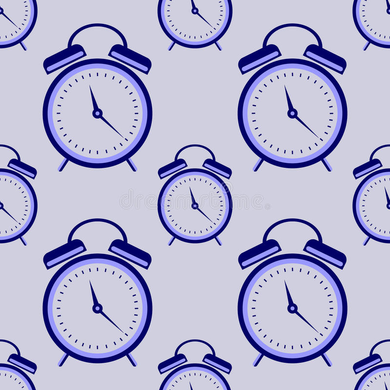 Seamless vector pattern. Symmetrical background with closeup blue alarm clocks on the blue background.  vector illustration