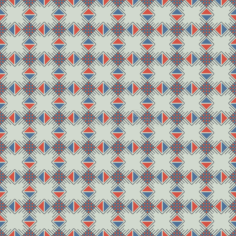 Seamless vector pattern. Symmetrical geometric abstract background with squares, rectangles and lines in blue and red colors. royalty free illustration