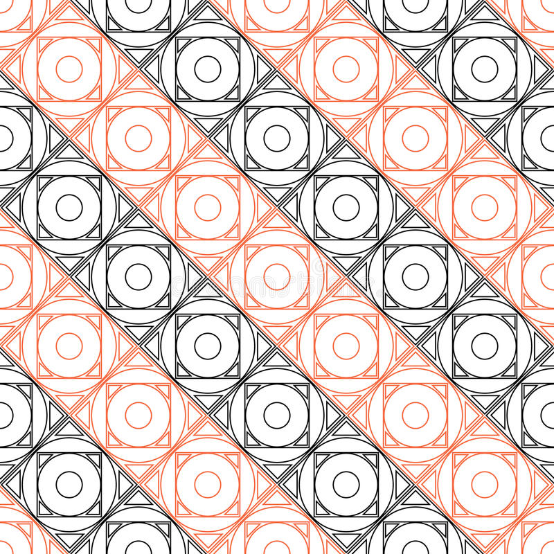 Seamless vector pattern. Symmetrical geometric background with black and red squares on the white backdrop. vector illustration