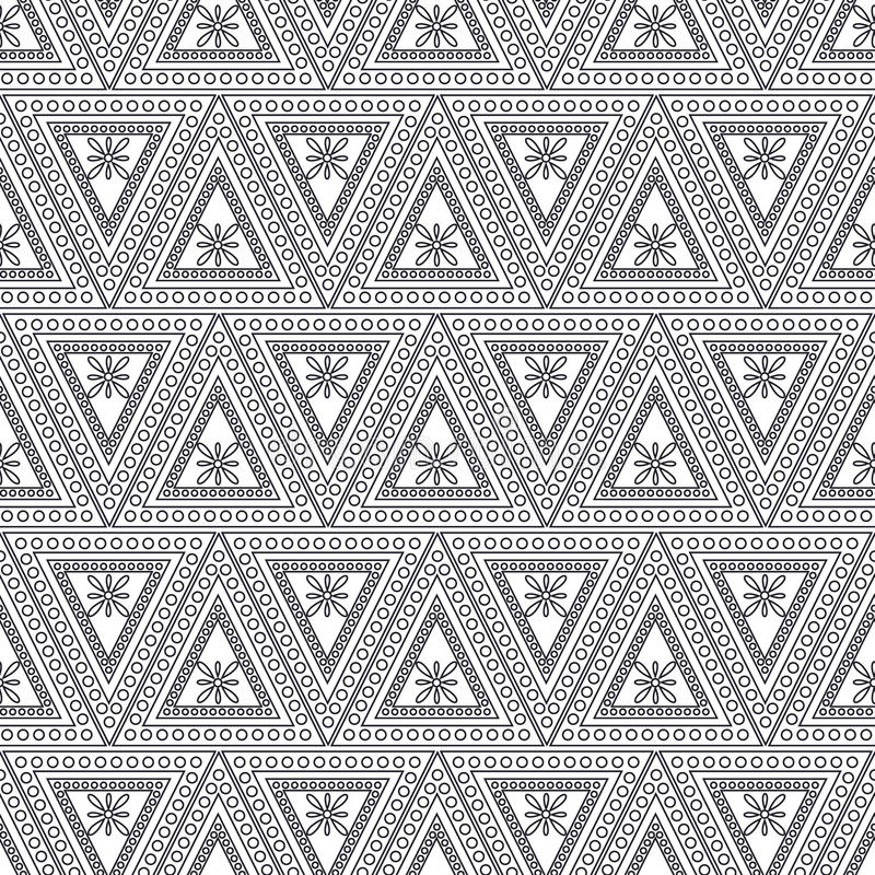 Seamless vector pattern. Symmetrical geometric background with black triangles on the white backdrop. Decorative ornament vector illustration