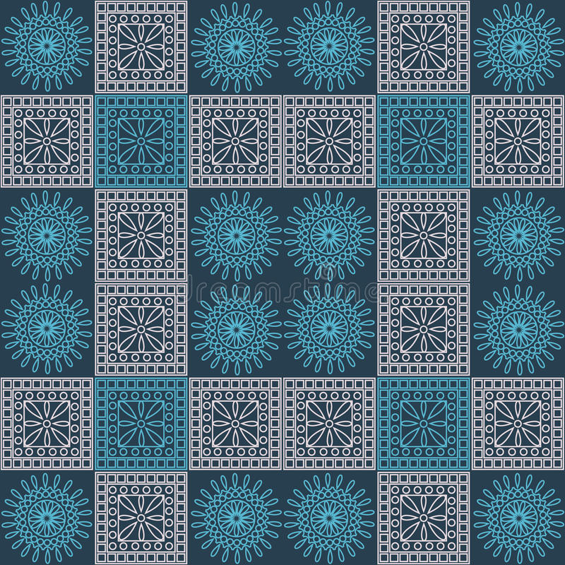 Seamless vector pattern. Symmetrical geometric background with blue and light pink squares and circles on dark blue backdrop. Deco royalty free illustration