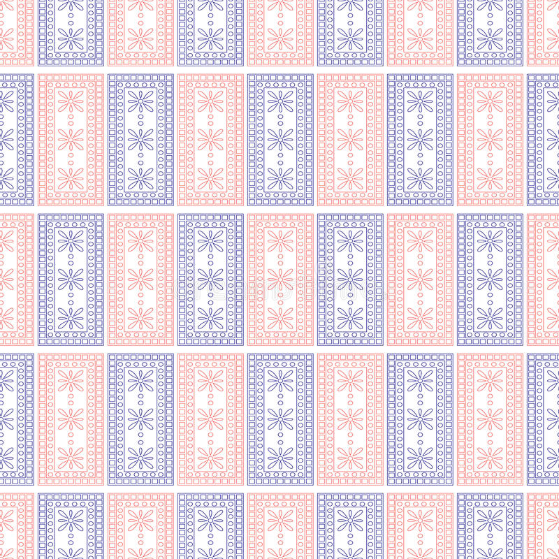 Seamless vector pattern. Symmetrical geometric background with blue and red squares on the white backdrop. Decorative ornament. vector illustration