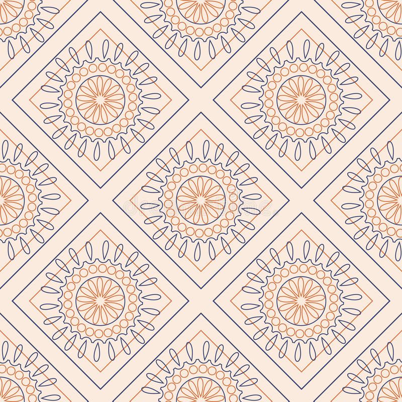 Seamless vector pattern. Symmetrical geometric background with colorful rhombs and circles on the pink backdrop. Decorative orname royalty free illustration