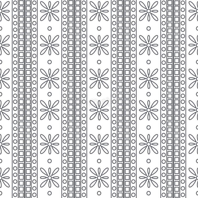 Seamless vector pattern. Symmetrical geometric black and white background with squares and flowers. Decorative ornament royalty free illustration