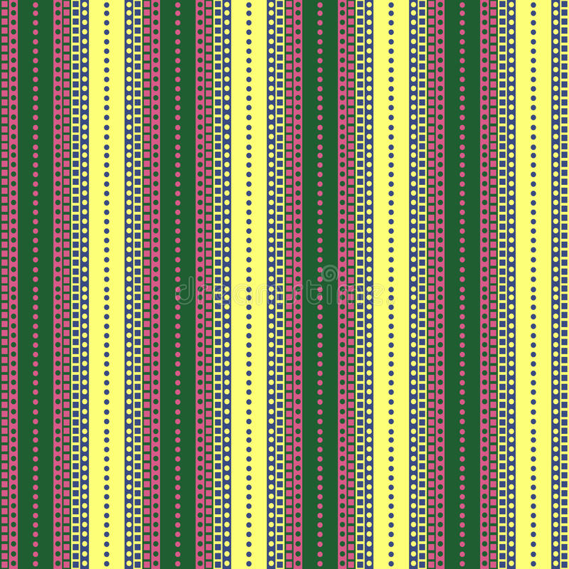 Seamless vector pattern. Symmetrical geometric green, pink and yellow background with lines and dots. Decorative repeating ornamen stock illustration