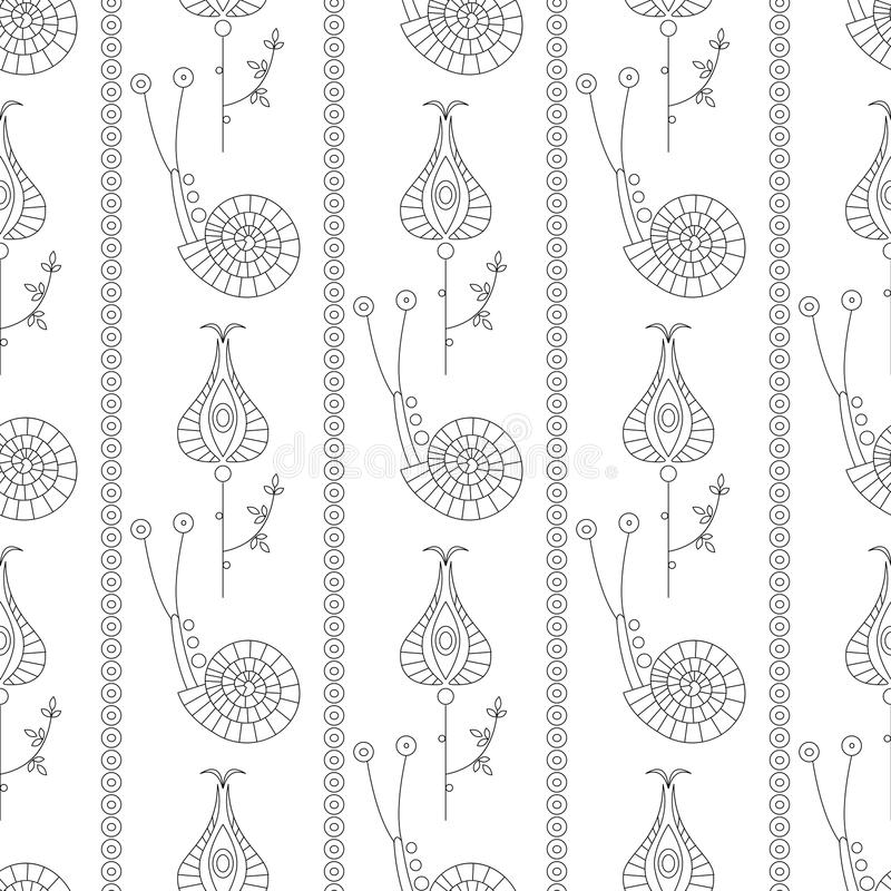 Seamless vector pattern. Symmetrical repeating background with decorative ornamental snails, flowers and leaves on the white royalty free illustration