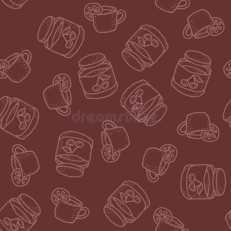 Seamless vector pattern with tea with lemon and cherry jam on bordo. Seamless vector pattern with tea and cherry jam on bordo for craft, wrapping, textile stock illustration
