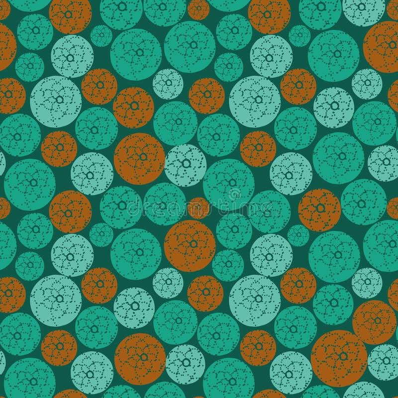 Seamless vector pattern with tealandorange circles with dotted floral ornament royalty free illustration
