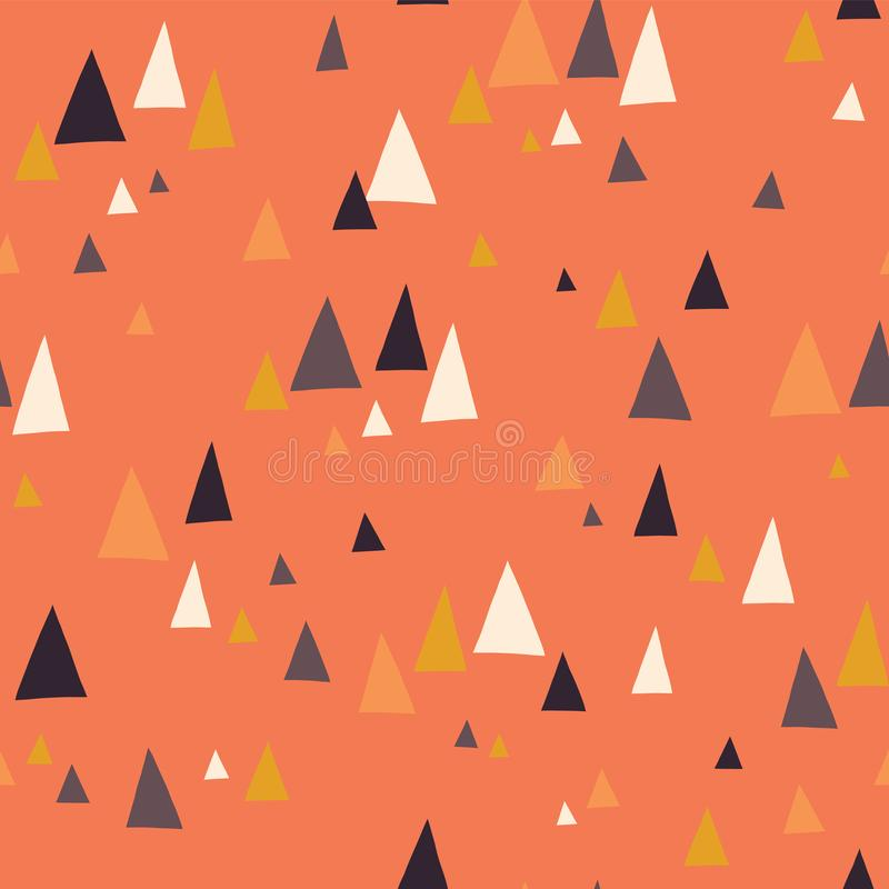 Seamless vector pattern with triangle mountains in scandinavian style. Decorative background with landscape elements. Abstract. Texture in coral, blue, gray royalty free illustration