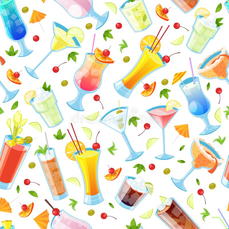Seamless vector pattern with tropical alcohol cocktails. Beverages and drinks bar, restaurant white background.  vector illustration