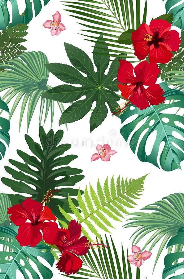 Seamless vector pattern tropical leaves with red hibiscus flower and pink orchid vector illustration
