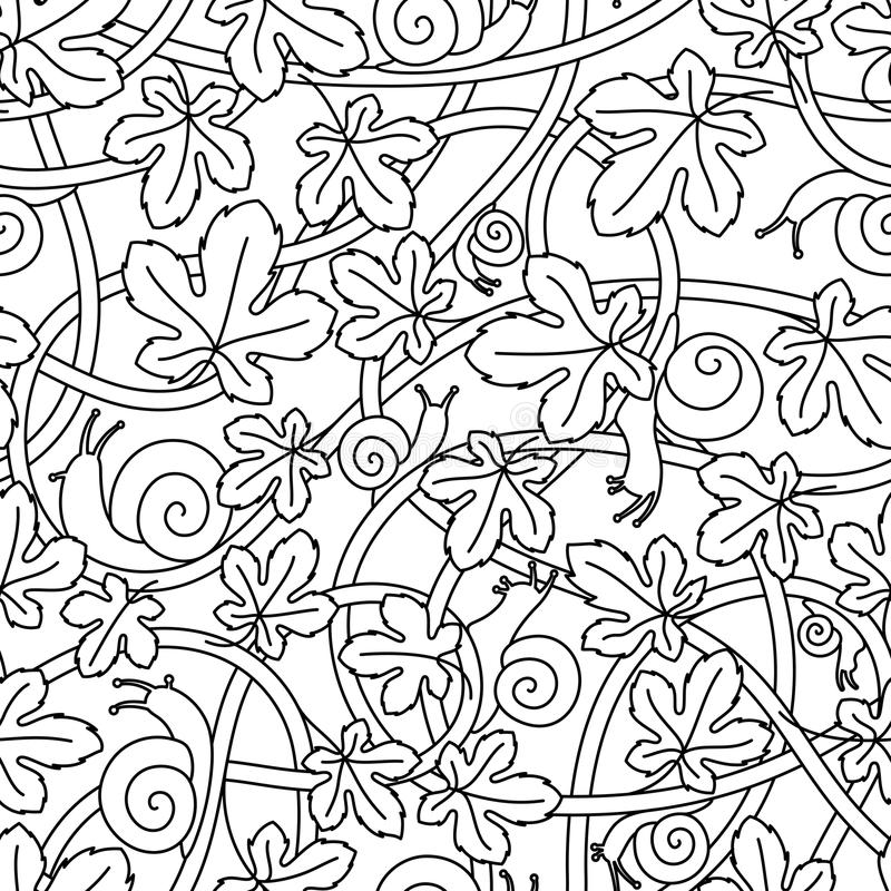 Seamless vector pattern from twisted branches, snails and leaves. Black linear pattern. royalty free illustration