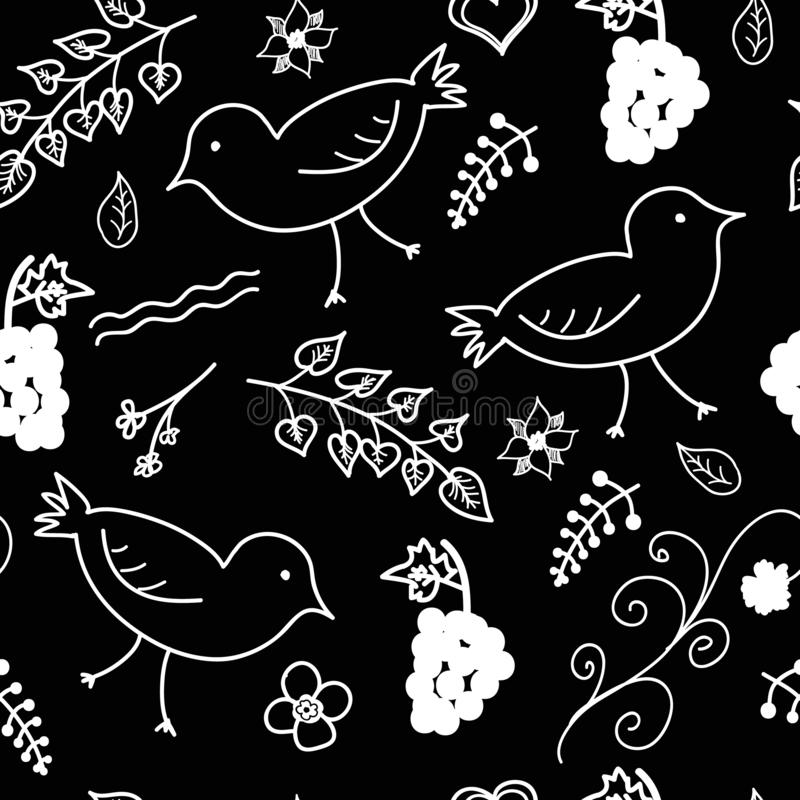 Seamless vector pattern, white leaf and bird. royalty free stock photos