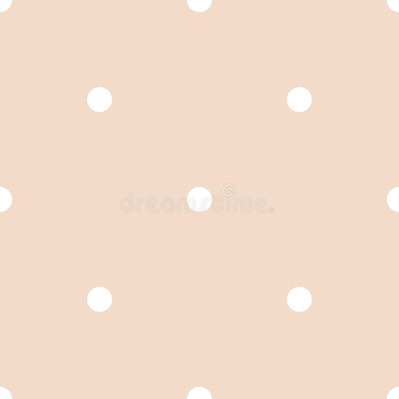 Seamless vector pattern with white polka dots on a tile pastel pink background royalty free illustration