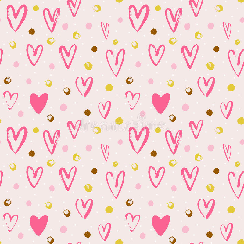 Free Seamless Vector Pattern With Grunge Hearts And Dots. Love Background For Valentine`s Day. Royalty Free Stock Photo - 87663745