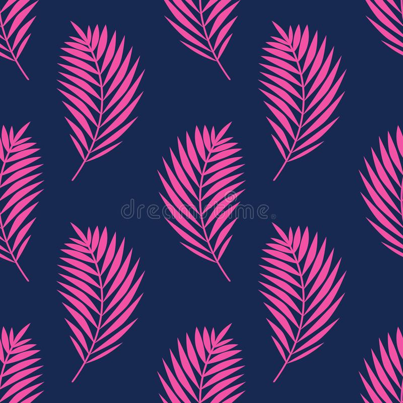 Free Seamless Vector Pattern With Palm Leaves. Pink Tropical Branches On Dark Blue Background Royalty Free Stock Image - 155716206