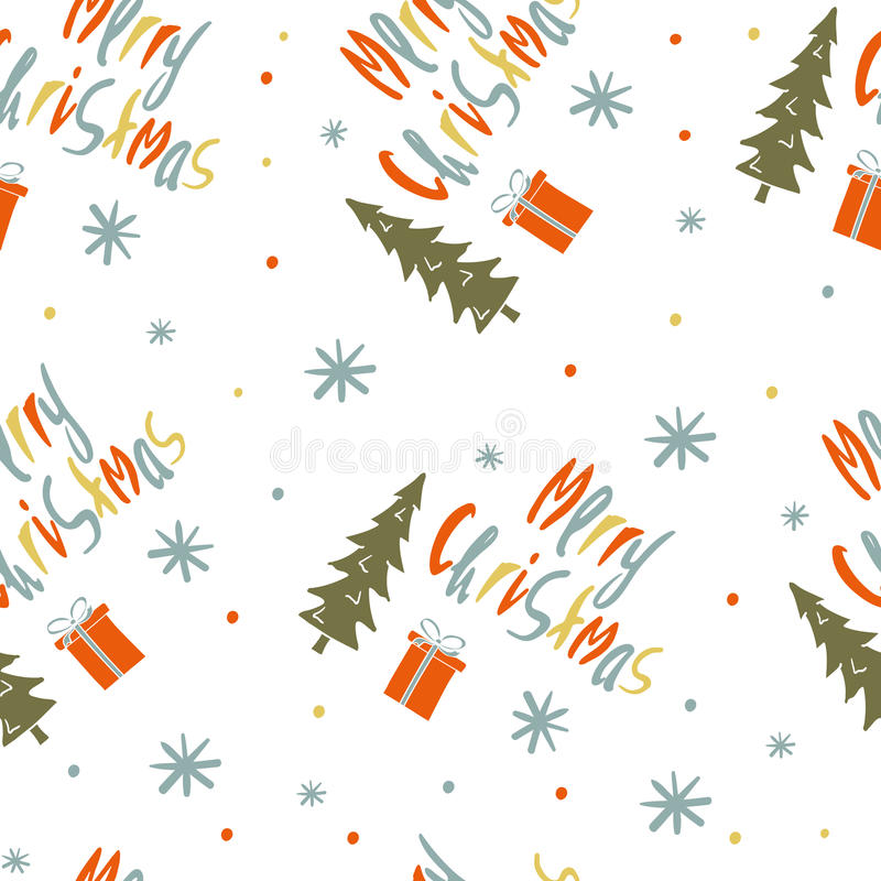 Seamless vector pattern with the words Merry Christmas. royalty free illustration