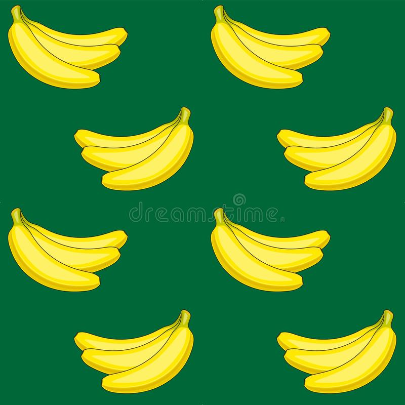 Seamless vector pattern of yellow bananas on a greenbackground. Yellow fruit stock illustration