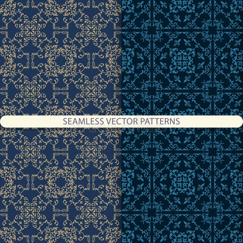 Seamless vector patterns with beige and blue ornament elements on a dark blue background. Oriental, arabic, damask pattern. patter royalty free illustration