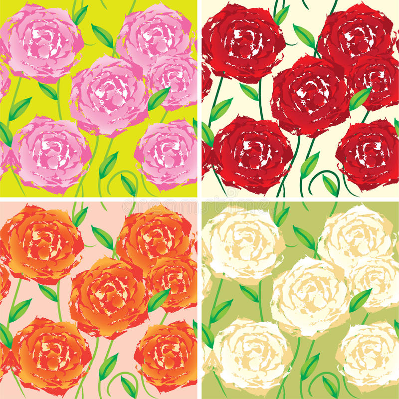 Seamless vector patterns with colored roses stock illustration