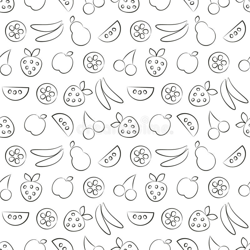 Seamless vector patterns with fruits. Black and white background with strawberry, banana, apple, pear, watermelon and cherry vector illustration
