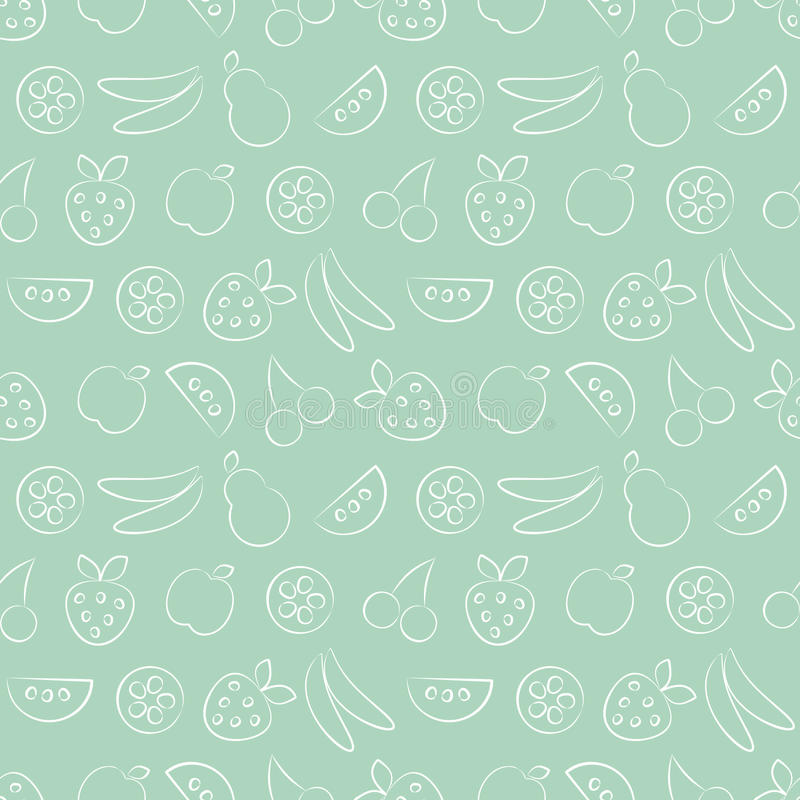 Seamless vector patterns with fruits. Pastel green background with strawberry, banana, apple, pear, watermelon and cherry. royalty free illustration