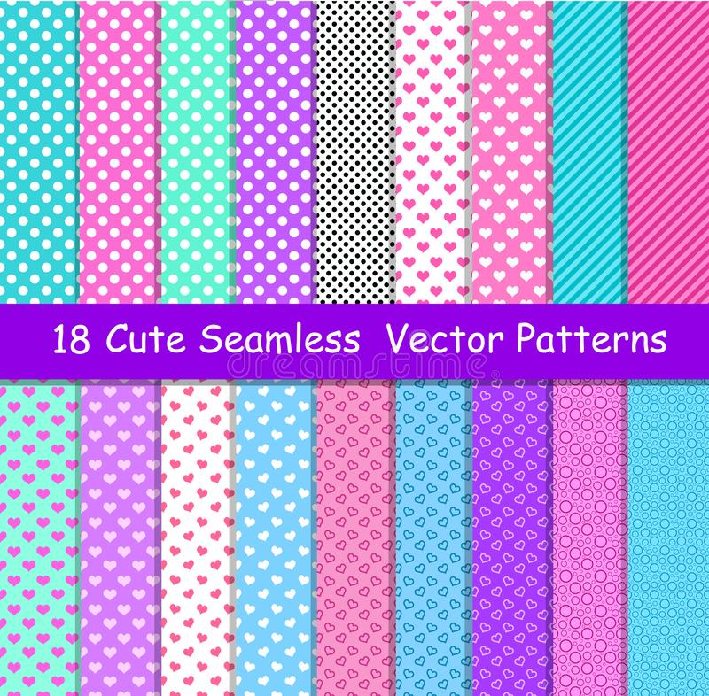 Seamless vector patterns in lol doll surprise style. Endless background with hearts, stripes and polka dots. Decor for royalty free illustration