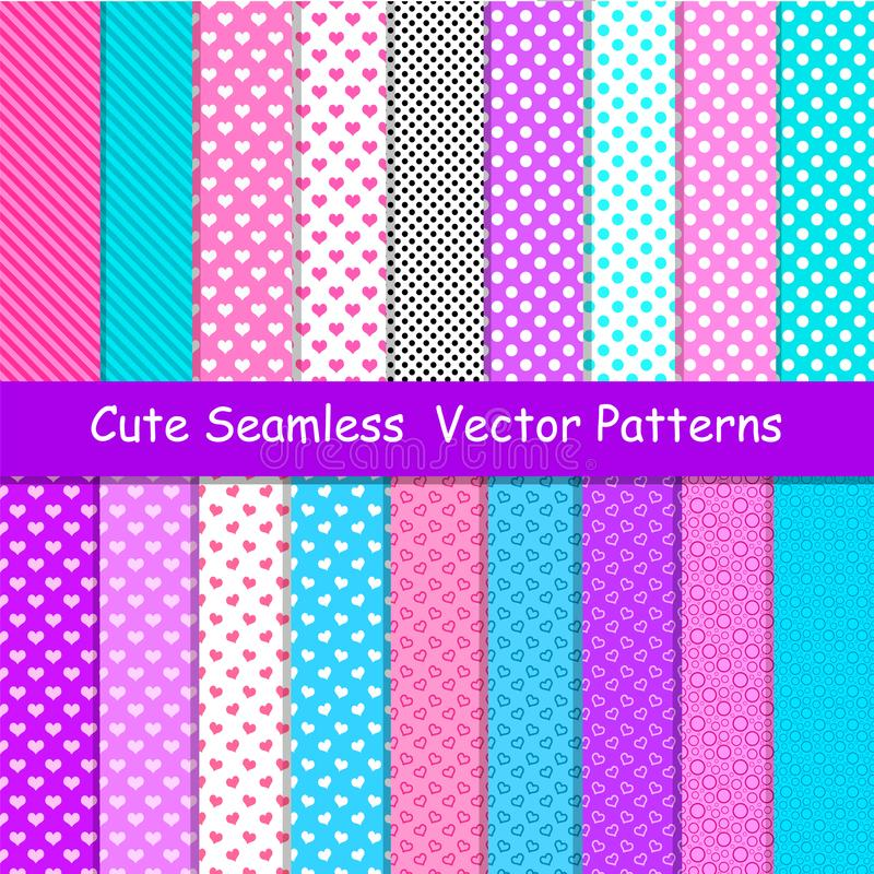 Seamless vector patterns in lol doll surprise style. Endless backgrounds with stripes and polka dots royalty free illustration