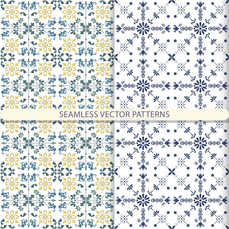 Seamless vector patterns with ornament elements and botanical elements. Children`s, kitchen textiles, print for textiles, wallpape. R design, turn paper stock illustration