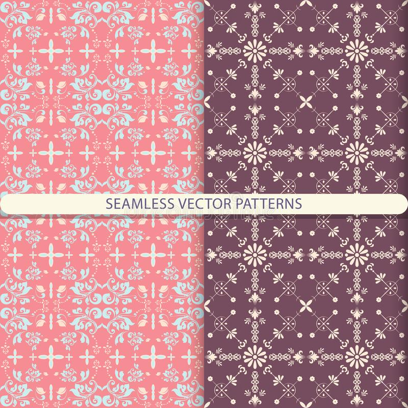 Seamless vector patterns with ornament elements and botanical elements. Kitchen textiles, print for textiles, wallpaper design, tu. Rn paper, packaging design royalty free illustration